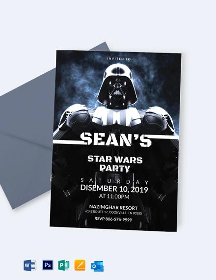 Star Wars The Force Awakens Birthday Invitation Template
