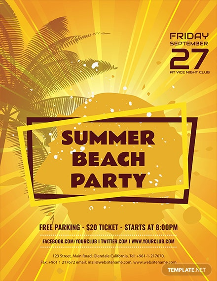 summer beach party flyer template 1x