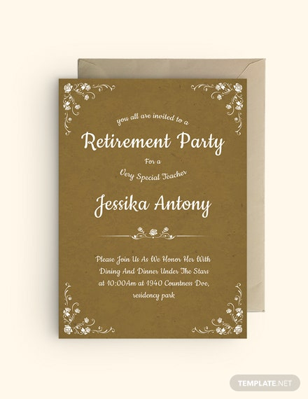 Sample Teacher Retirement Party Invitation Template