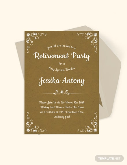 Teacher Retirement Party Invitation Template Download