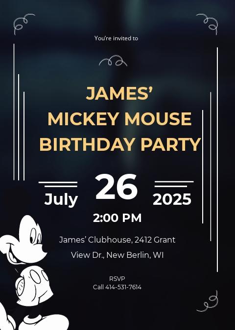 Unique Mickey Mouse Invitation Template
