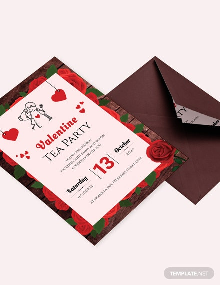 Valentine Tea Party Invitation Template Download