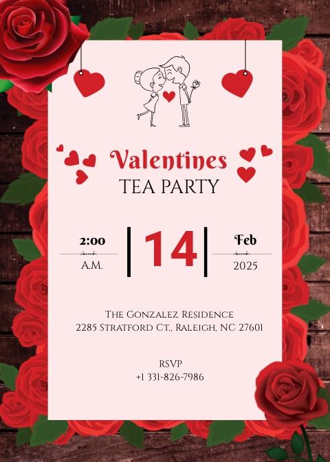 Valentine Tea Party Invitation Template