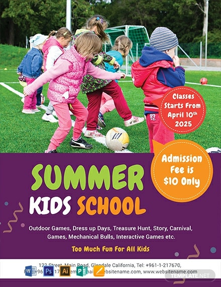 Free Summer Kid's School Flyer Template