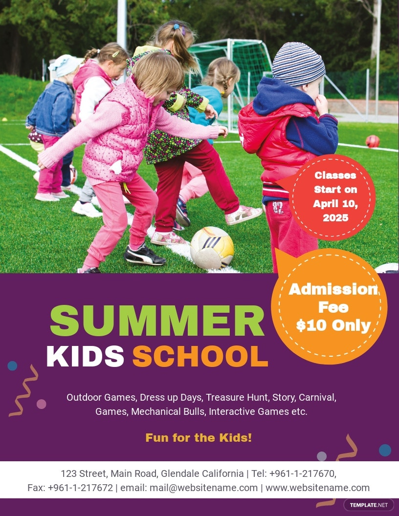 Summer Kid's School Flyer Template