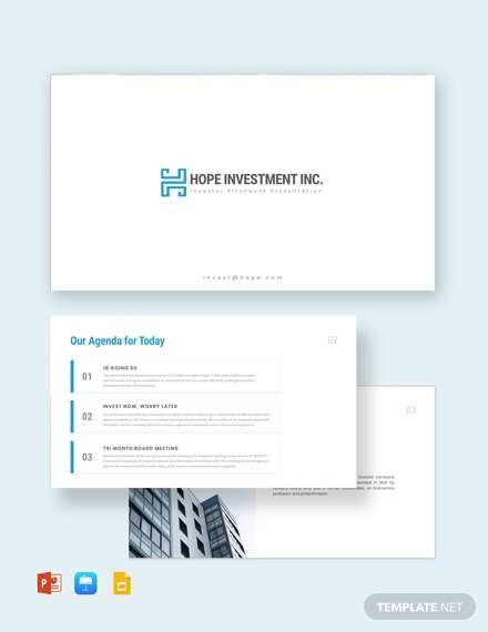 Investor Pitch Deck Presentation Template