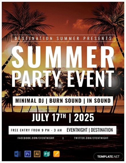 Free Summer Party Event Template