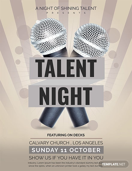 free talent show flyer template  download 641  flyers in