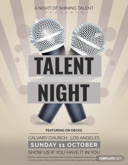 Free Talent Show Flyer Template Free Templates