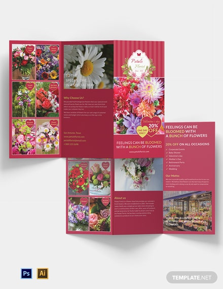 Flower Shop Tri-Fold Brochure Template