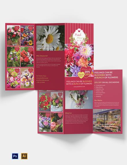 Flower Shop Tri-Fold Brochure Template