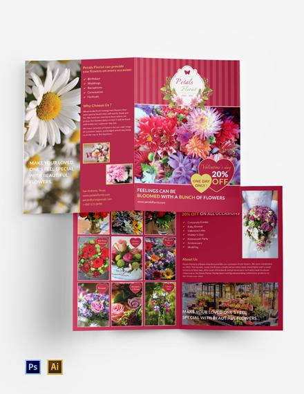 Flower Shop Bi-Fold Brochure Template