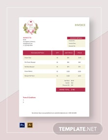 Printable Flower Shop Invoice Template