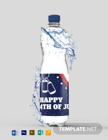 Patriotic America Water Bottle Label Template
