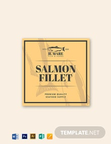 Vintage Fish And Sea Food Label Template