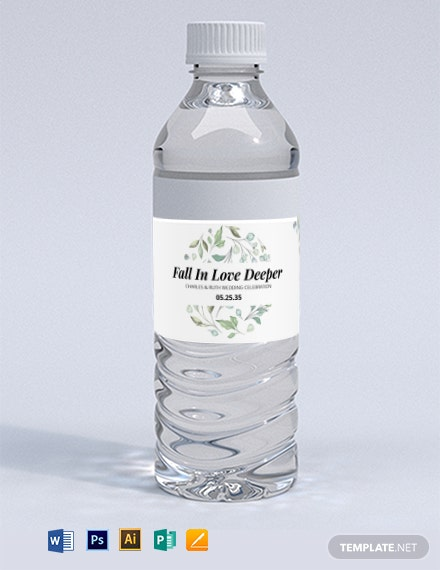 Wedding Water Bottle Label Template