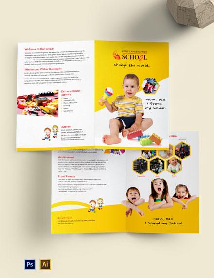 Kindergarten A4 Bi-Fold Brochure Template