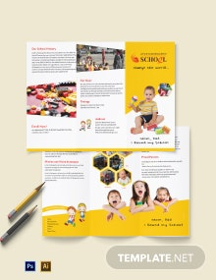 Kindergarten A3 Tri-Fold Brochure Template