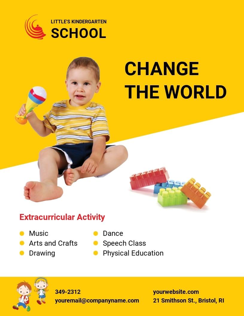 Kindergarten School Flyer Template