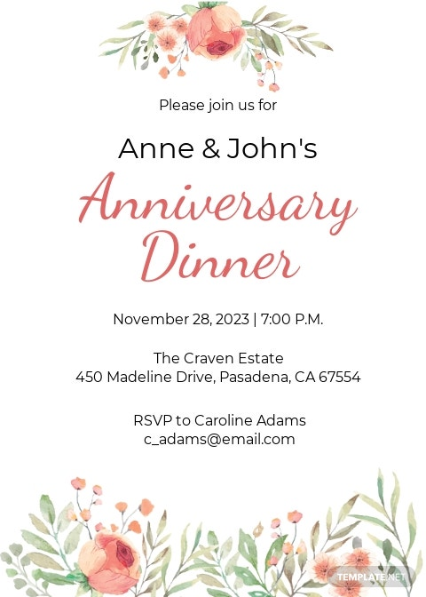 Anniversary Dinner Invitation Template