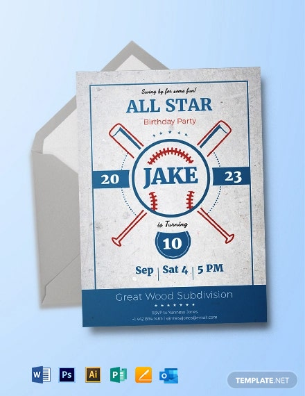 Baseball Birthday Party Invitation Template