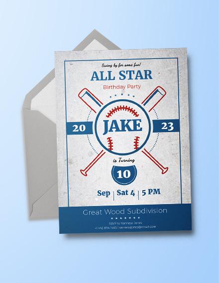 Baseball Birthday Party Invitation Template