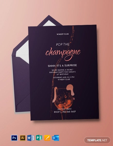 Champagne Birthday Invitation Template