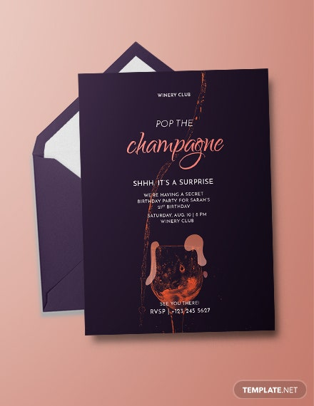 Champagne Birthday Invitation Template