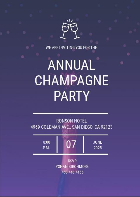 Champagne Invitation Template