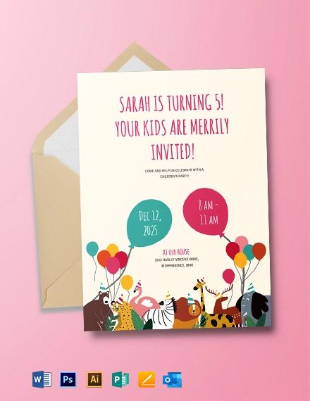 Children's Party Invitation Template
