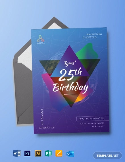Disco Birthday Party Invitation Template