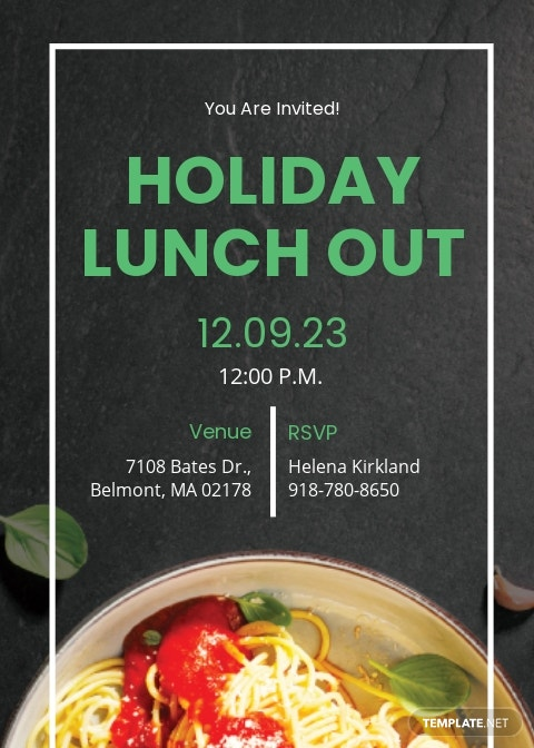 Holiday Lunch Invitation Template