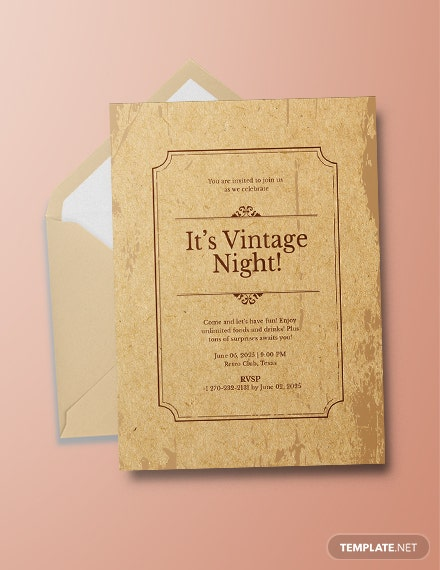 Vintage Party Invitation Template