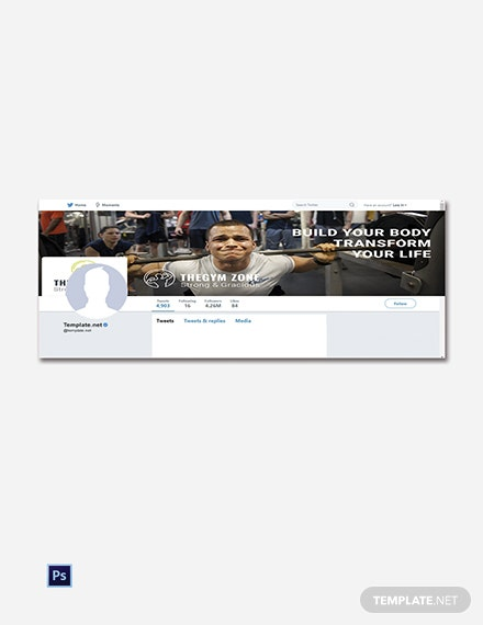 Free Gym Twitter Cover Template
