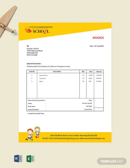 Kindergarten School Invoice Template