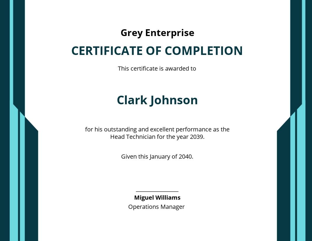Technician Excellence Certificate Template