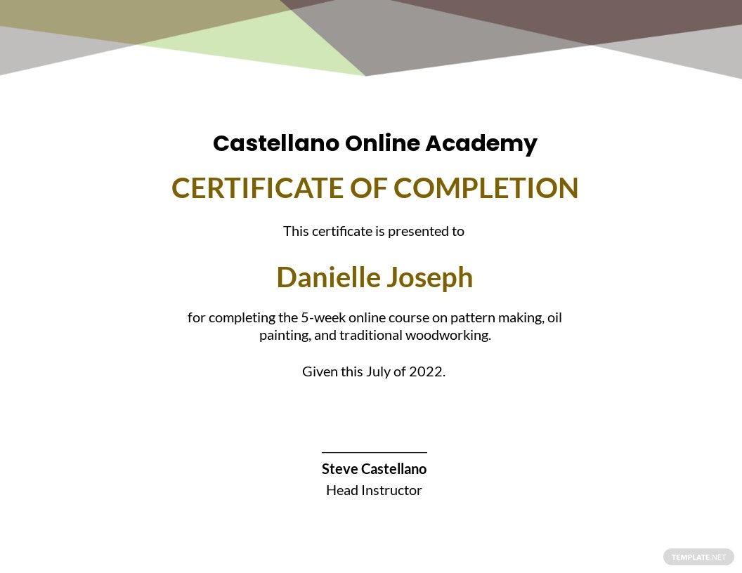 template completion certificate