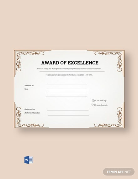 Free Excellence Award Certificate