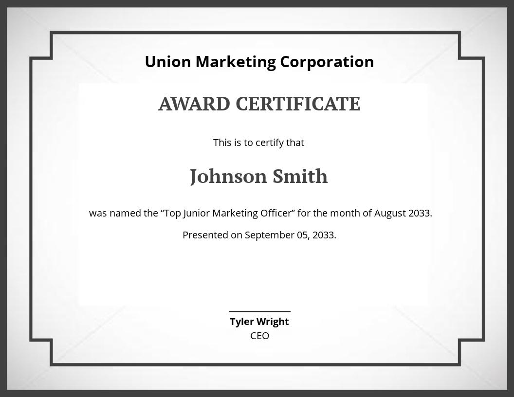 Free Award Certificate Template