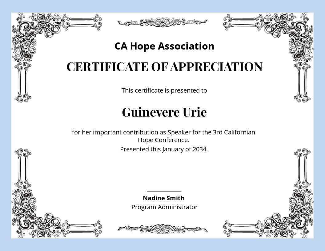 Free Elegant Appreciation Certificate.jpe