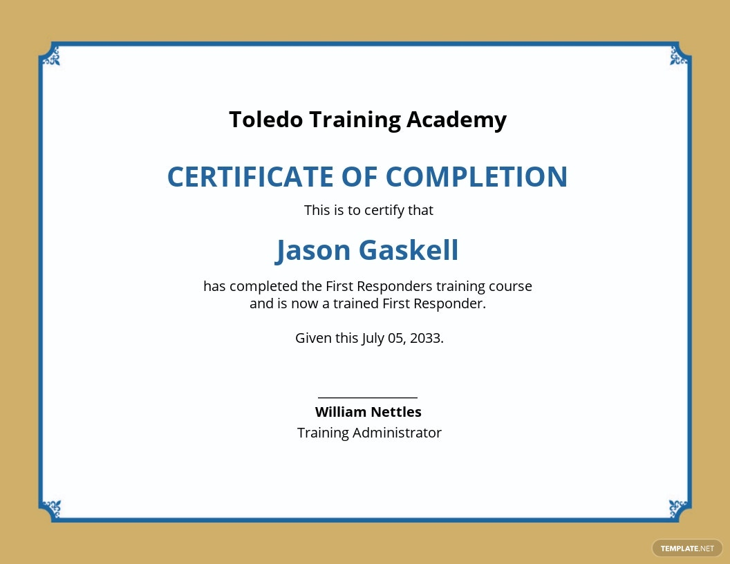 Training Academy Certificate