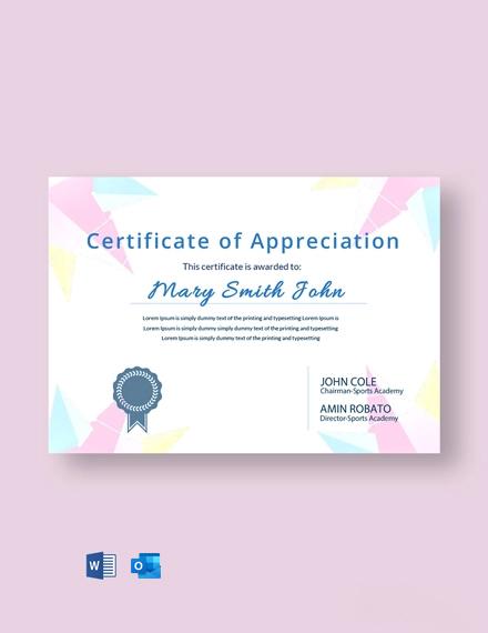 Free Player Appreciation Certificate