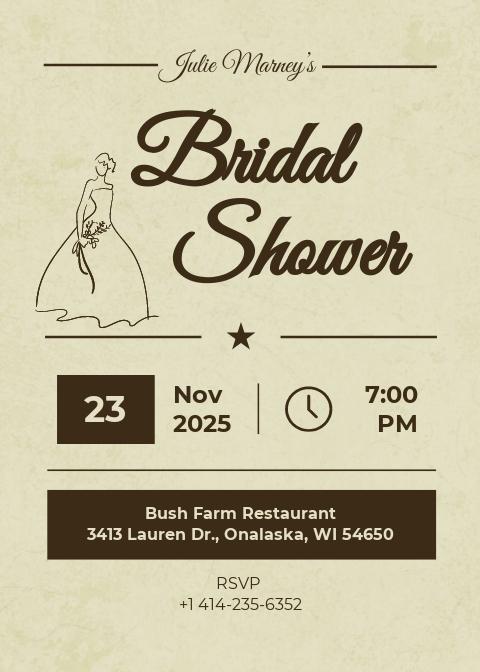 Vintage Bridal Shower Invitation Card Template
