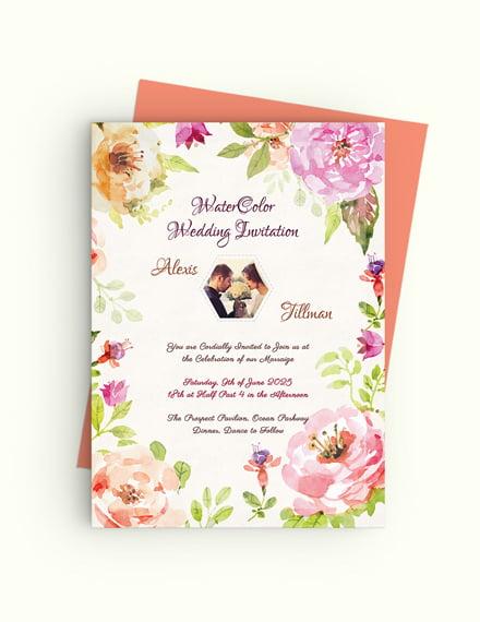 Sample Watercolor Wedding Invitation Template