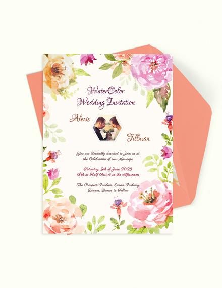 Watercolor Wedding Invitation Template Download