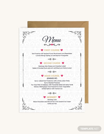 Sample Wedding Menu Invitation Template