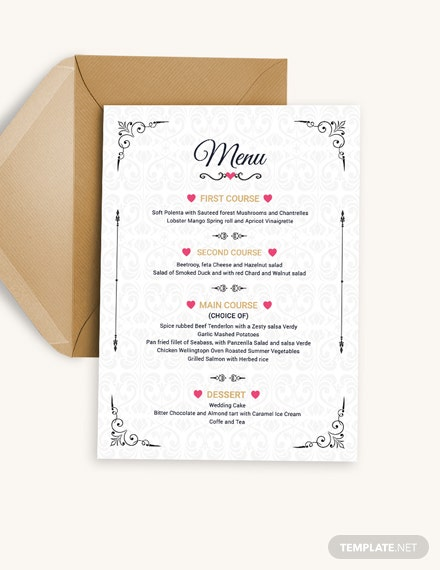 Wedding Menu Invitation Template Download
