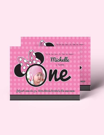 Sample Wonderful Minnie Mouse Birthday Invitation Template
