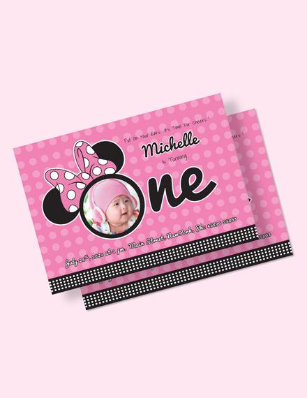 Wonderful Minnie Mouse Birthday Invitation Template Download