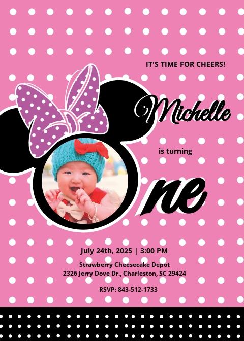 Wonderful Minnie Mouse Birthday Invitation Template